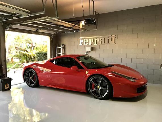 Ferrari Garage Sign 4 Pies De Largo Cepillado Plata Luxury