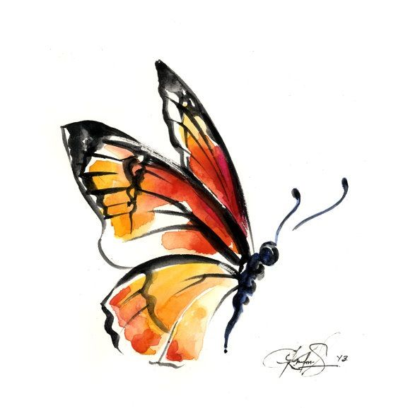 Beautiful painted butterfly tattoo