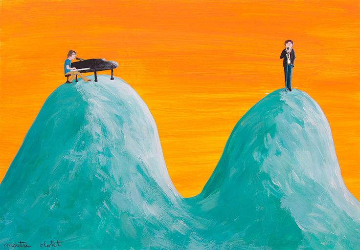 Ben Folds and Rufus Wainwright playing Careless whisper, by Montse Clotet.  Music, illustration, acrylics, collage, montseclotet.