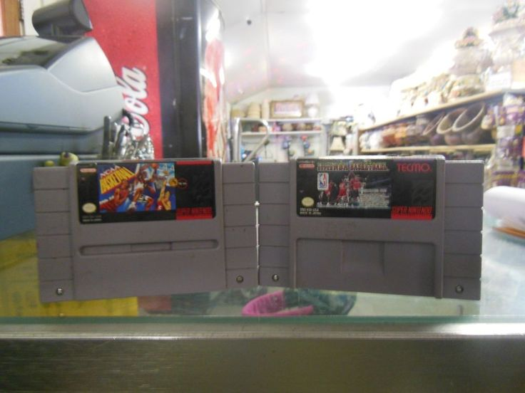 Lot of two Super NES games, games only, both basketball titles, untested #Nintendo