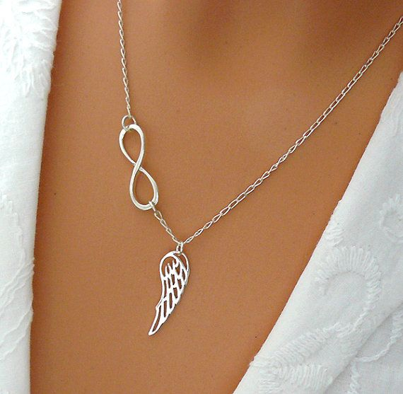I WANT THIS!!!  Infinity Angel Wing Necklace  Sterling Silver Wing by SaraAndJane, $32.00