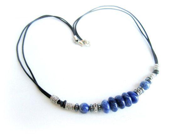 Mens surfer necklace sodalite stones men by Bravemenjewelry