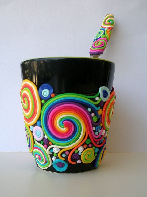 mug decorated in polymer clay