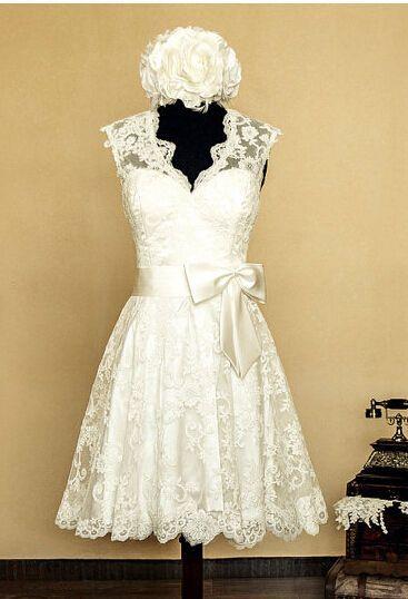 New White/Ivory Full Lace Short Bridal Gown Wedding Dress Custom Made 2-28