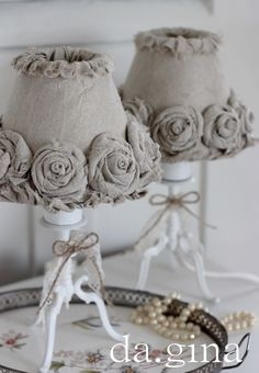 Burlap Roses Lampshade, Living Room. White, Grey, Black, Chippy, Shabby Chic, Whitewashed, Cottage, French Country, Rustic, German decor Idea. ***Pinned by oldattic ***.