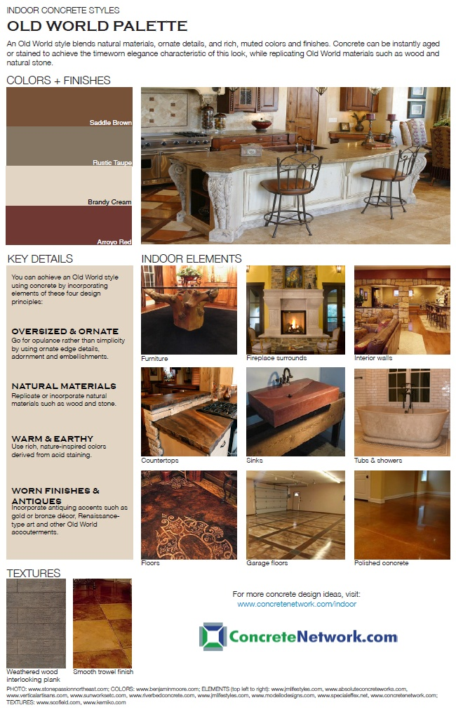 12 best images about old world indoor concrete styles on for Indoor network design