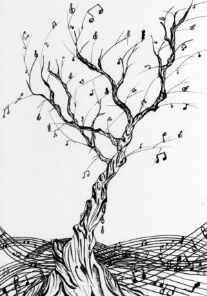 music note tree...I drew something like this for a tattoo idea! Crazy!!
