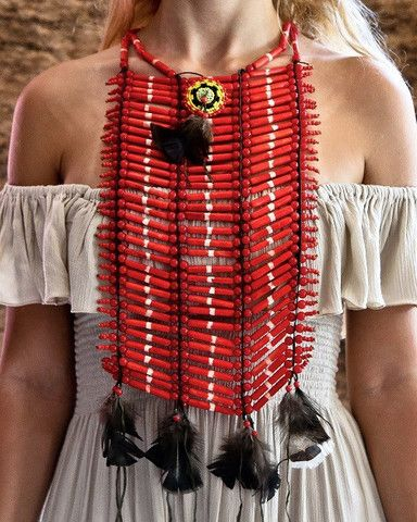 Native American Breastplate - Medium Red - $45