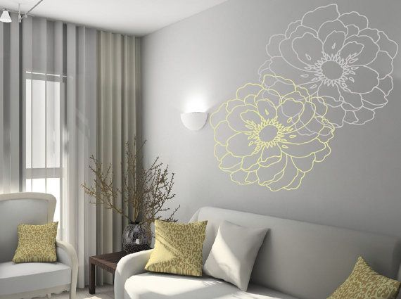 Modern Flower Wall Decals for Walls Stickers for by DecaIisland. Consider these colors and decals for focus wall in bedroom.