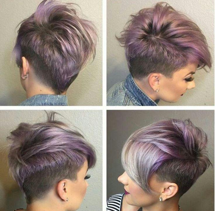 Irokesenschnitt Mit Ubergang Frauen Lila Grau Tonung Hairstyles Frauen Grau Hairstyles In 2020 Short Hair Styles Pixie Short Pixie Haircuts Trendy Short Haircuts