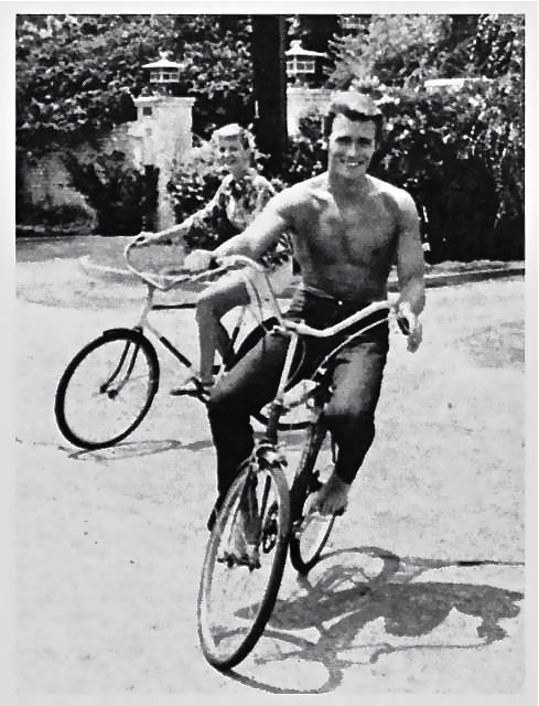 Clint Eastwood rides a bike.  Tags: Clint Eastwood Rawhide circa 1960