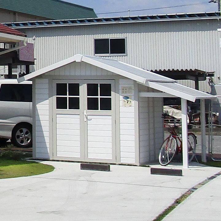 物置や作業場、自転車倉庫などに使えるフランス発のお庭に馴染む小屋型収納庫と庇のセット。
