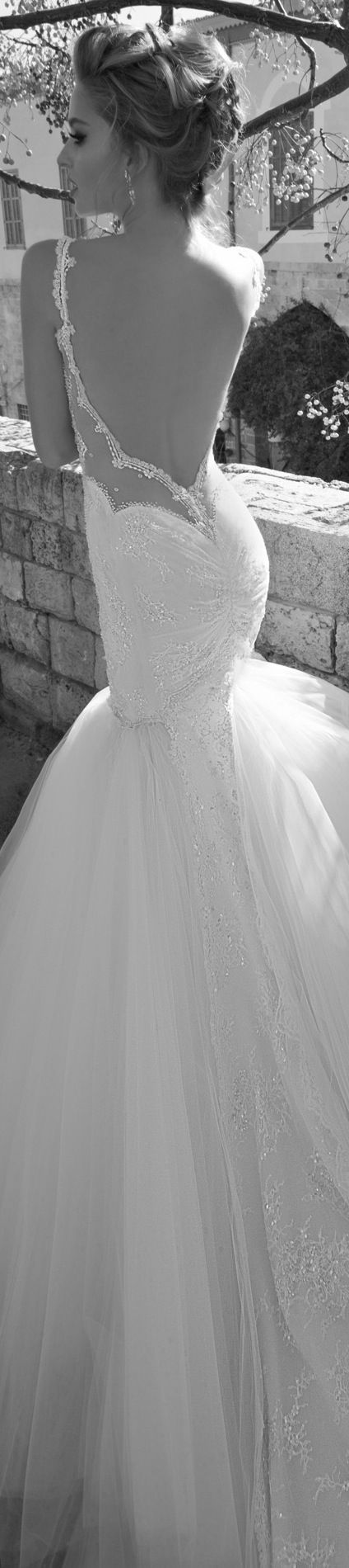 Augusta from La Dolce Vita collection by Galia Lahav { Inspired by a white bird of paradise. Sheer corseted top with jeweled lace entirely embroidered with glass shimmering beads. Very full and cascading skirt with lace details lining the back. Very low back.