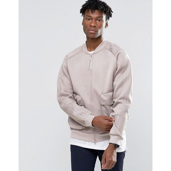 adidas Originals Badlander Superstar Track Jacket In Beige AY8535 (€100) ❤ liked on Polyvore featuring men's fashion, men's clothing, men's activewear, men's activewear jackets and beige