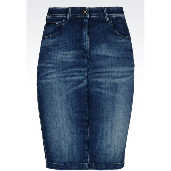 Armani Jeans Pencil Skirt In Denim ($120) ❤ liked on Polyvore featuring skirts, denim, blue, button skirt, blue knee length skirt, blue skirt, knee length skirts and armani jeans