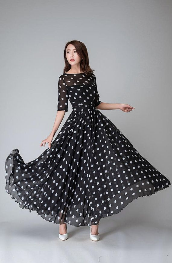 polka dot dress, illusion prom dress, Black white dress, Chiffon dress, Women dresses, maxi dress, Half sleeve dress, boat neck dress (1534)