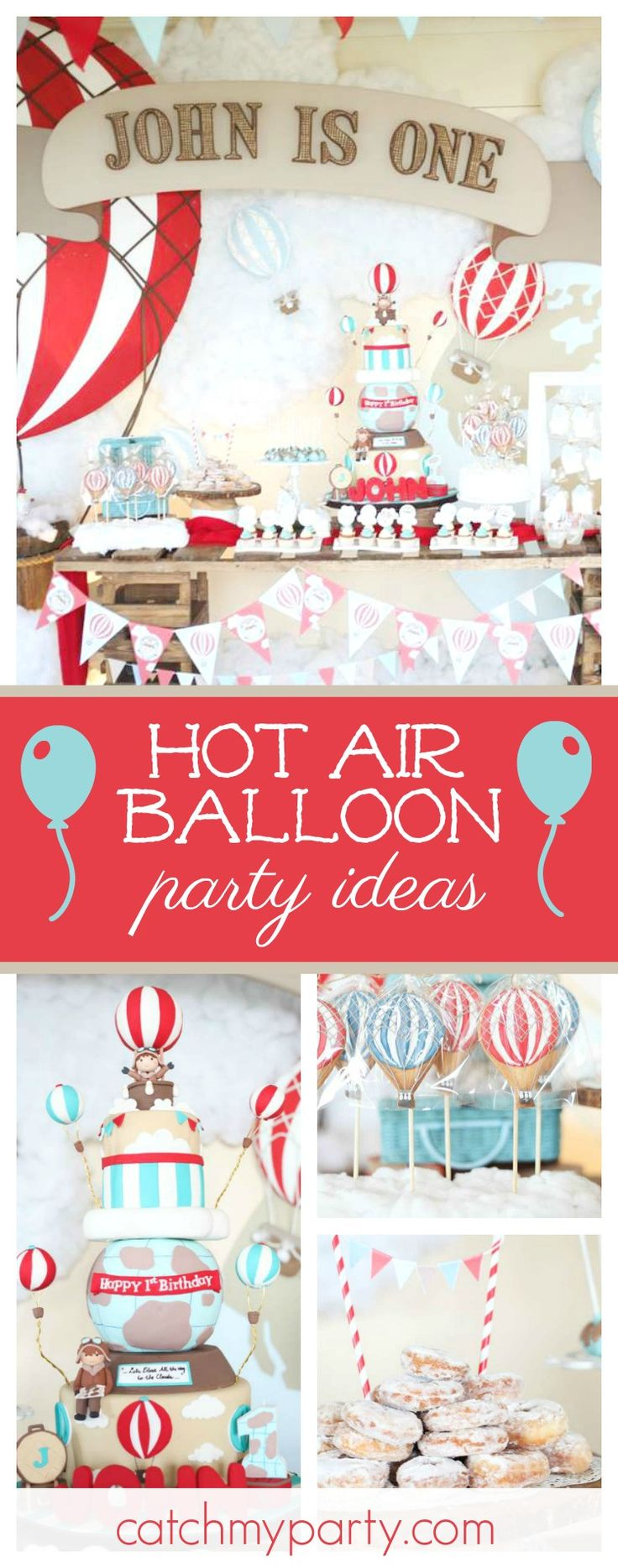 Take a look ath this wonderful Hot Air Balloon 1st birthday party. The cookies are awesome!! See more party ideas and share yours at CatchMyParty.com