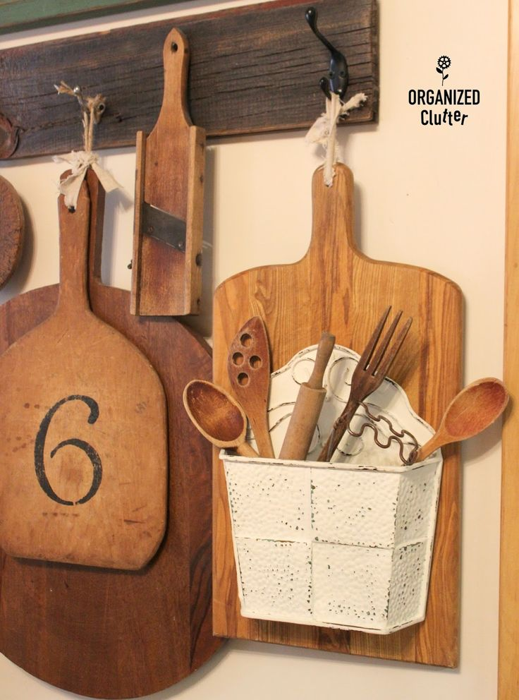Up-cycled Thrift Shop Cutting Board organizedclutter.net  **Perfect idea for my metal basket.  Now I just need to find it!**