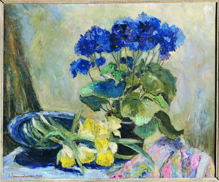 Still Life with Blossoms - by Aniela Lewandowska (b. 1896); oil on canvas; donated by Mr. George Szabad.