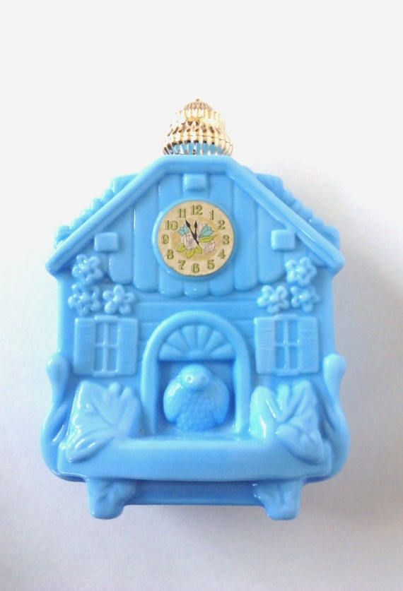 Vintage Blue Milk Glass Avon Enchanted Hours Cuckoo Clock Perfume Cologne Bottle Birds Roses House Lovely Ornate Cottage Collectible Decor by VintageChicPleasures on Etsy