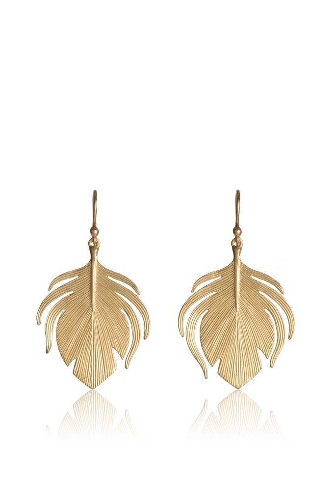 Earrings Feather Small 14k Gold Peacock Feather Earrings Small Peacock Feather Earrings In 14k Gold Peacock Feather Earrings Feather Earrings Feather