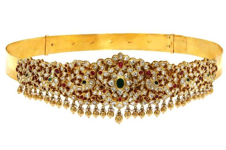 C. Krishniah Chetty Gold Waist Belt, set with uncut diamonds, rubies, emerald and pearls.