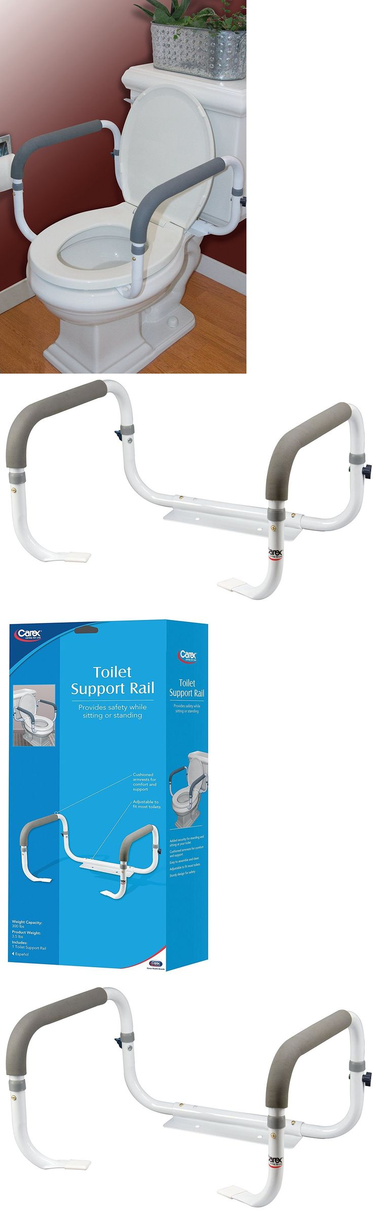 Handles and Rails: Toilet Safety Frame Rail Bathroom Grab Bars Seat Medical Support Handicap Arms BUY IT NOW ONLY: $32.99