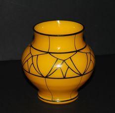 Kolek - Opaque yellow vase with black-enamelled decor