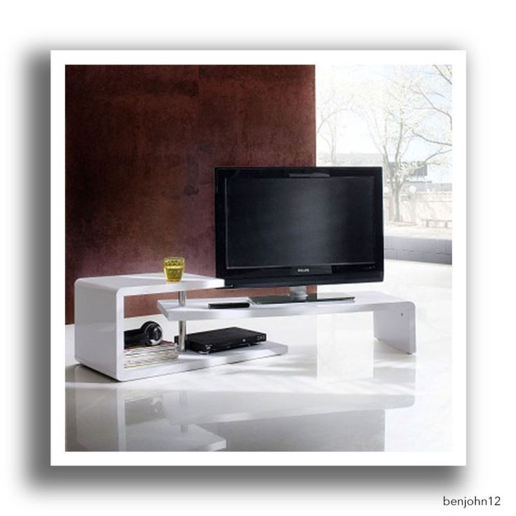 Rotating Lcd Tv Stand White High Gloss Low Board Coffee