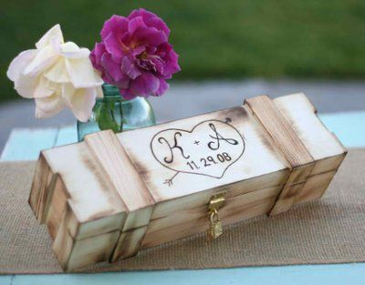 Put your written vows and a bottle of wine in a box during your ceremony. Open and enjoy on your ten year anniversary! Our alternative to sand or candles.