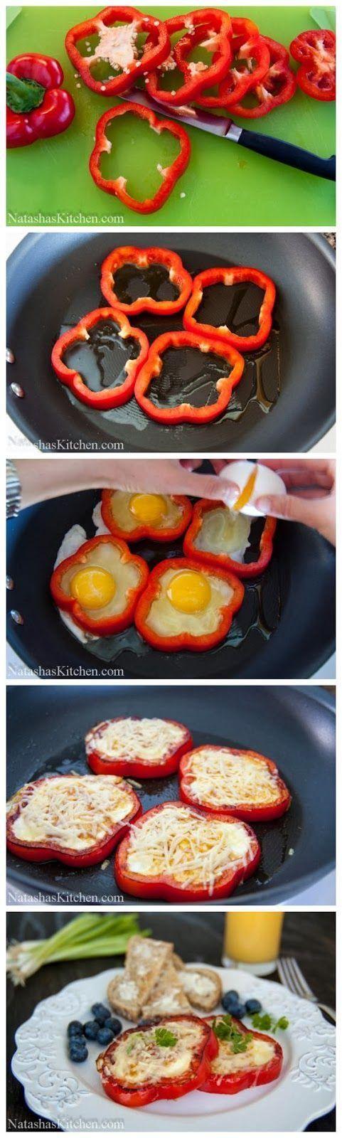 1 pimiento rojo, 4-5 huevos grandes, sal, pimienta, ¼ de taza de queso parmesano rallado, 1 cda de aceite de oliva. En una sartén, caliente 1 cda de aceite de oliva. Cortar los pimientos en anillos y quitar las semillas y los centros. Colocar los pimientos en rodajas en la sartén y dejar que sofría por 1 minuto. Rompa un huevo en el centro de cada rebanada de pimiento.Espolvoree sal y pimienta. Saltee durante 3 min y luego vuelta por el otro lado.Coloque queso parmesano, cocinar 1 min más.