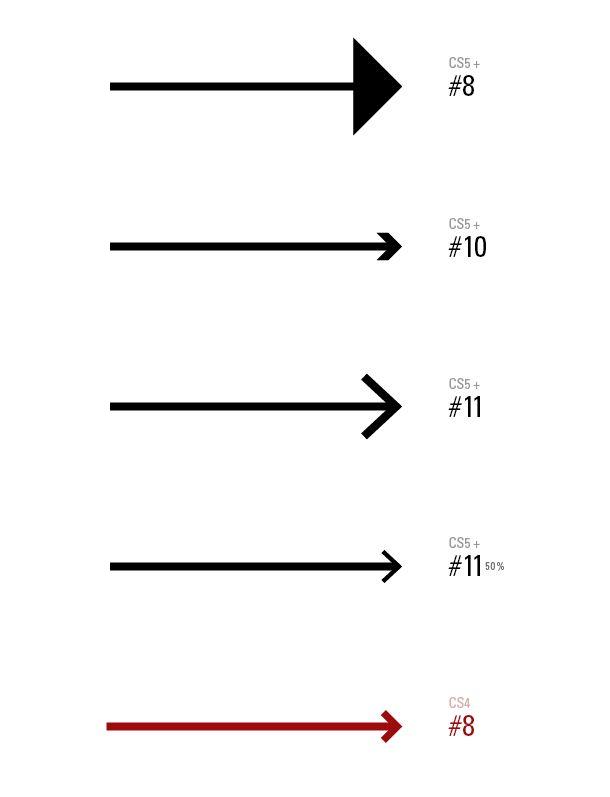 Arrowheads Comparison, Illustrator CS4, CS5, and CS6
