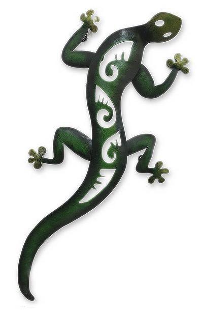 Lizard Wall Sculpture Metal Art Handmade in Mexico - Mexican Gecko   NOVICA
