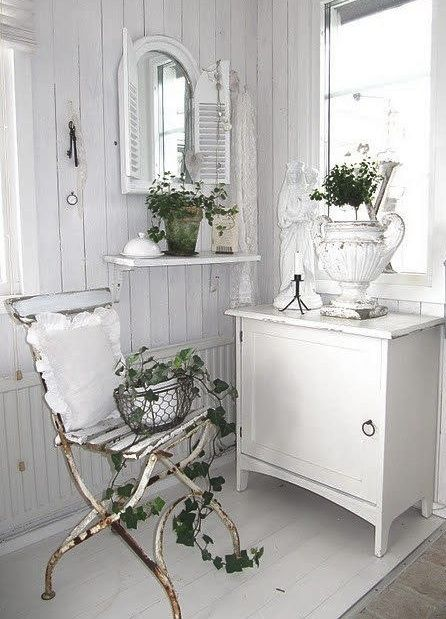Cool rusty chair, love that mirror, and great urn!---Jeanne d'Arc Living - French style with Nordic palette