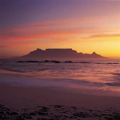 View of Table Mountain from Blouberg Strand, Cape Town, South Africa.