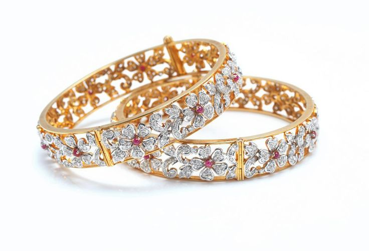 Beautiful diamond and gold bangles