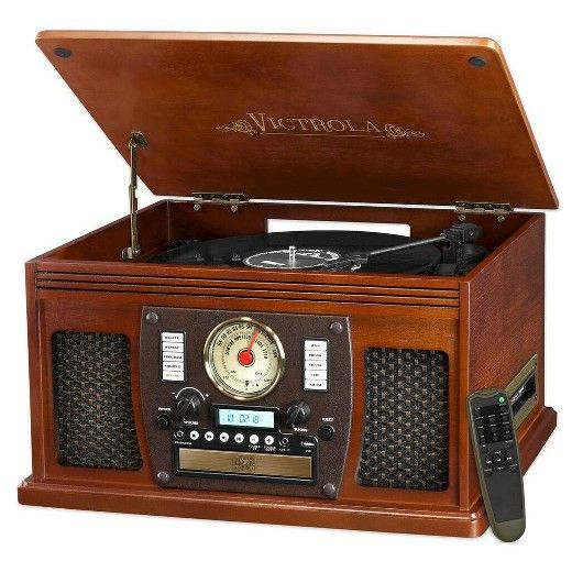 The Victrola 7-in-1 Wooden Record Player combines modern technology with a nostalgic design.