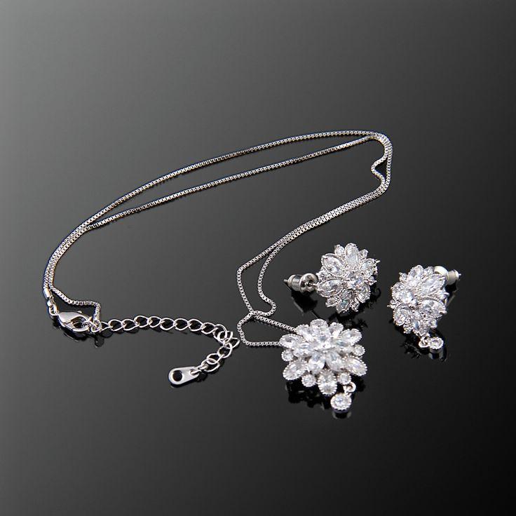 Dalya İkili Set - Avusturya kristali - Swarovski taşlar - Beyaz Altın kaplama - Aksesuar - Set - Dalya Takı Austrian Crystal - Swarovski stones - Accessory - Jewellery Set - Bridal - Royal - Glamorous - Dalya