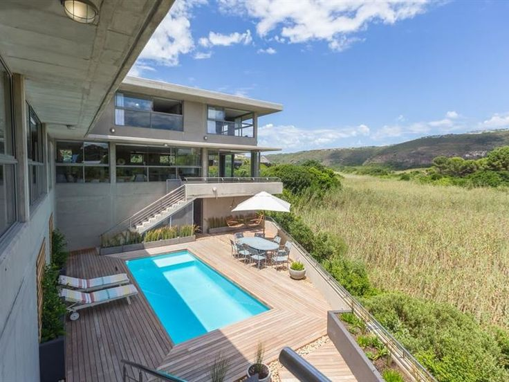 Red Box Villa - A comfortable, modern, six-bedroom home with pool and beautiful views over the wetland, just a short three-minute walk to the beach.Red Box Villa features six en-suite double bedrooms, a large open-plan ... #weekendgetaways #plettenbergbay #gardenroute #southafrica