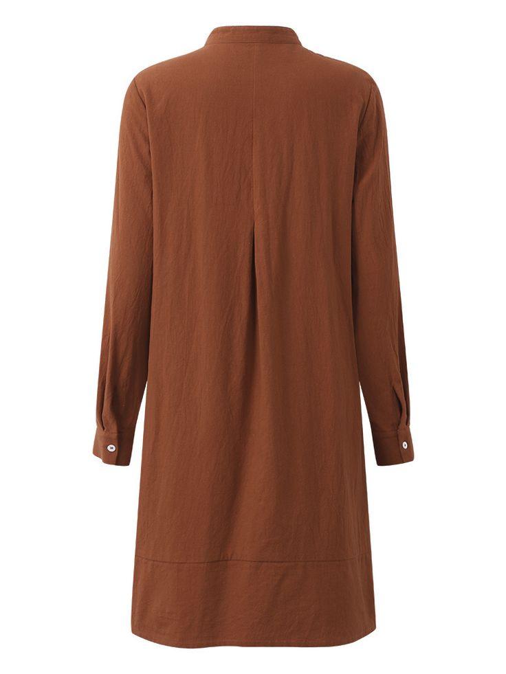O-NEWE Solid Long Sleeve Button Pockets Dress Women Blouse