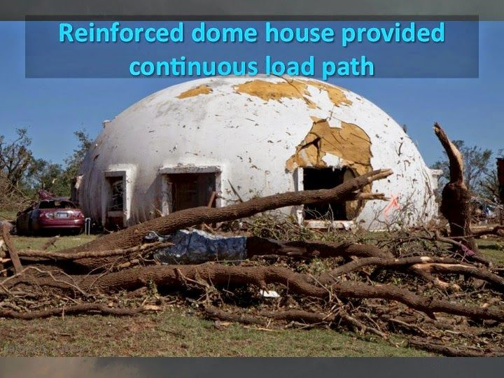 One could build a steel reinforced concrete dome house for for Concrete homes texas