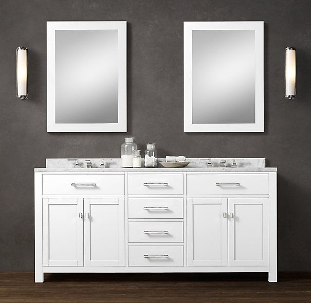 """Hutton Double Vanity Sink $3195 Special $2715 This versatile collection brings a spare, Parsons-like sensibility to the bath. Dimensions Vanity Sink: 72""""W x 24""""D x 34""""H Vanity Base: 72""""W x 24""""D x 32½""""H Backsplash: 72""""W x 1¼""""D x 3""""H"""