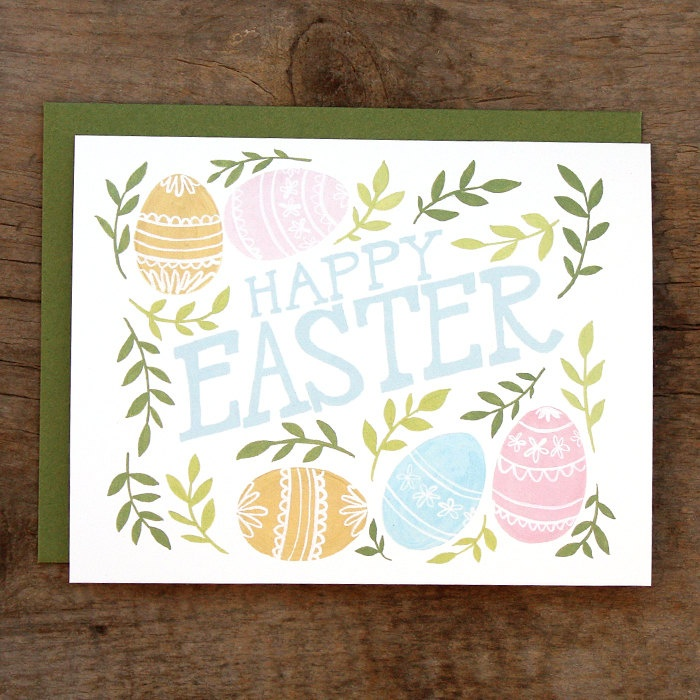 Happy Easter Illustrated Card. $4.50, via Etsy.
