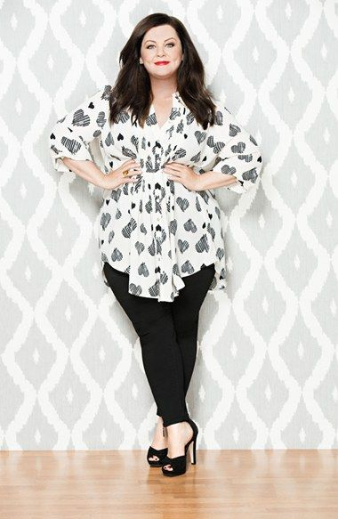 Melissa McCarthy Seven7 Belted Heart Print Pintuck Blouse (Plus Size) | Nordstrom