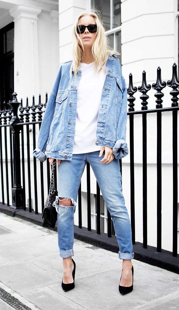 Com um hi-lo incrível de calça jeans boyfriend + jaqueta oversized e scarpin.
