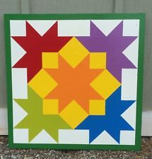 "Wooden Painted Barn Quilt 24"" X 24"" inch 1/2 Inch Plywood Handmade Americana"
