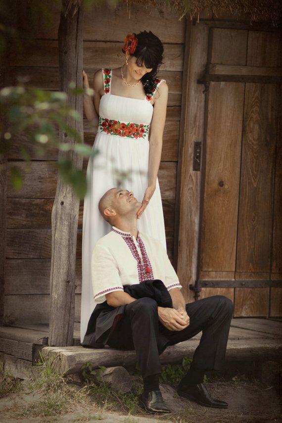 oh god! poppies! Empire Silhouette Long Wedding Dress in by ApilatCreativeAtelie, $730.00
