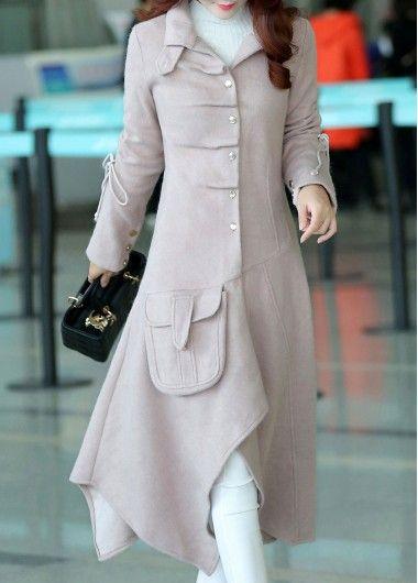 Розовый Асимметричная Hem Кнопка Вниз Карманный Coat