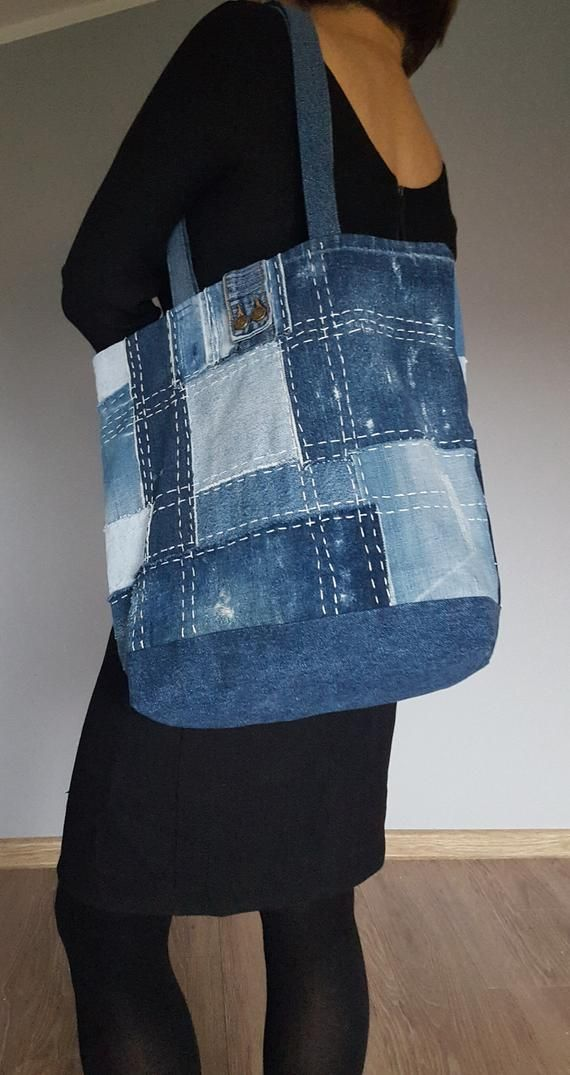Denim bag, shoulder bag 100 % upcycled blue jeans in patchwork style, The Japanese patchwork style Boro & sashiko