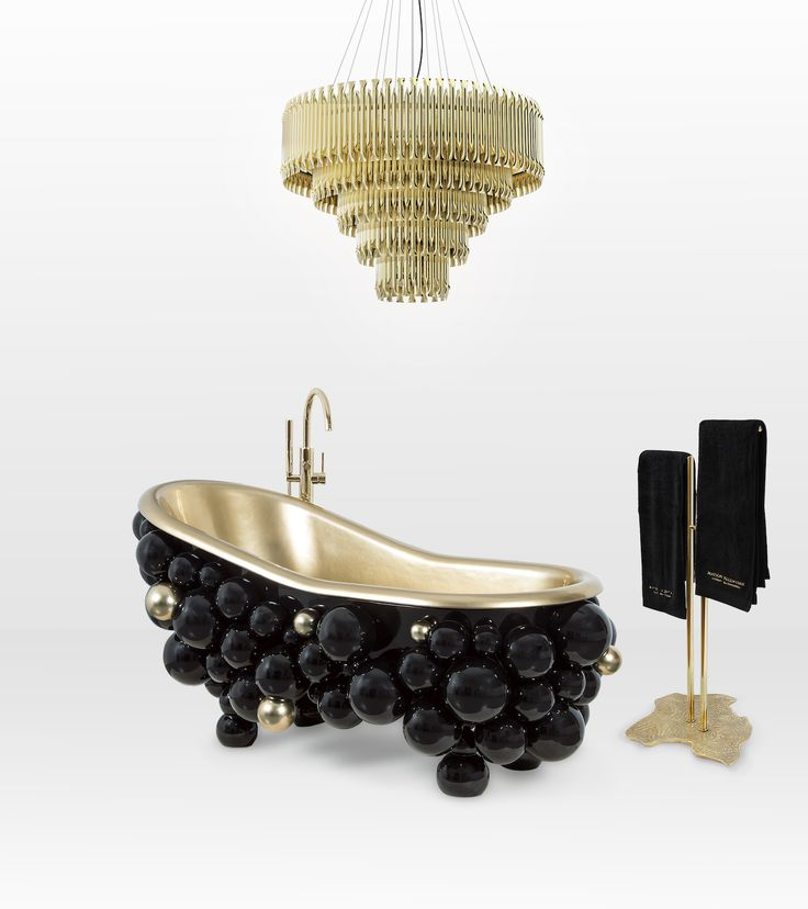 Would you like bubbles with your bubbles? This fabulous 'Newton Free-standing Bathtub' is from Maison Valentina and featured on Don't Call Me Penny in several different black + gold bathroom mood boards. Glamour plus. http://dontcallmepenny.com.au/luxury-bathroom-decor/ #interiors #bathroom #interiordesigner #styledesignwriter